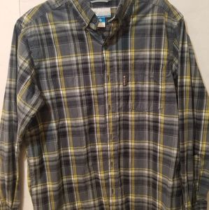 mens columbia button down size medium gray yellow